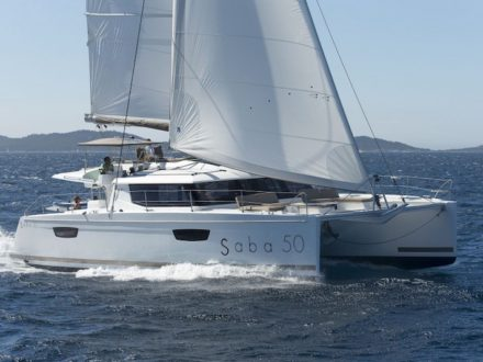 Saba 50 Sailing Catamaran for bare boat and skippered charters in Italy by Catamaran Charter Italy